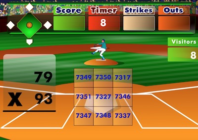 Batter's Up Base Ball Math - Multiplication Game