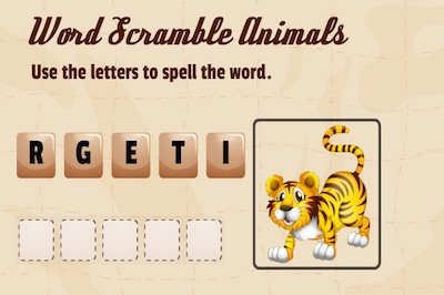 Word Scramble (Discover Animal Names)