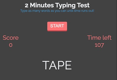 2 Minutes Words Typing Test Game (HTML 5)